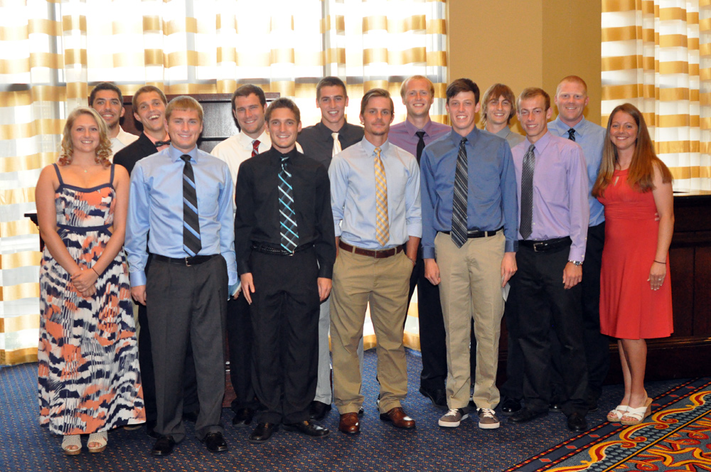 The team all dressed up for dinner