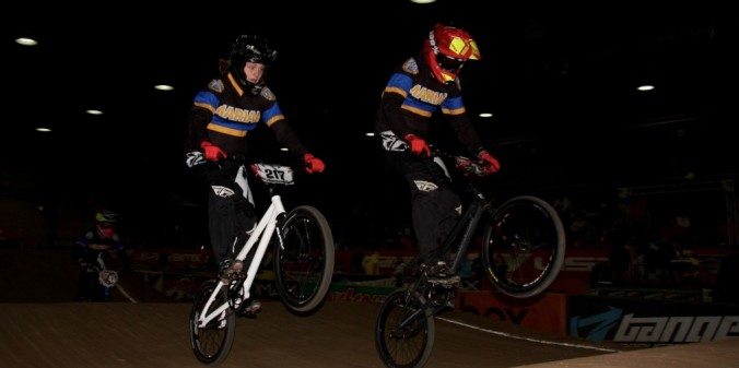 Freshmen Jamie Windholz and Bailee Enlow at the USABMX Sooner Nationals. Photo by Anders Nystrom.
