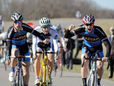 Juniors Weston Luzadder (right) and Alder Martz sprint to the win. - photo by Andrew Dalton