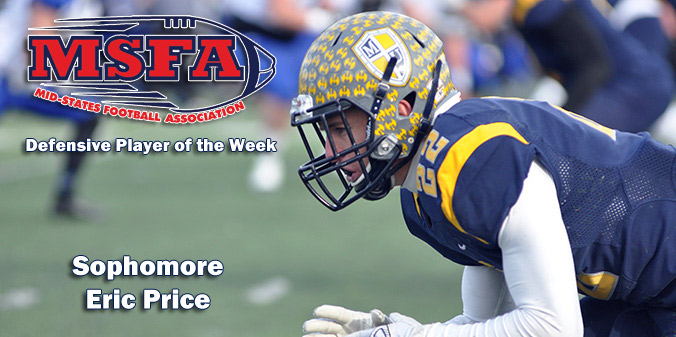 Price Earns MSFA Weekly Honor for Second Time