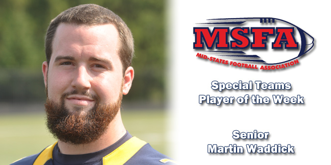 Waddick Named MSFA Mideast Special Teams Player of the Week