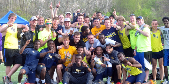 TOP MOMENT OF 2013-14 #1 - MEN'S TRACK WINS FIRST LEAGUE TITLE IN FIRST-EVER HOME MEET