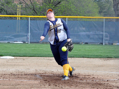 Junior Emily Gwaltney became the career wins leader with 52 as MU won its first two games at the MCC Tournament on Wednesday.