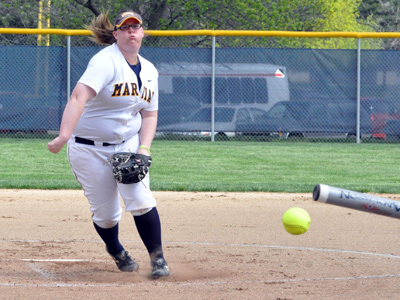 Junior Emily Gwaltney moved to 15-4 on the season with her 15th complete game and 49th career win on Thursday.