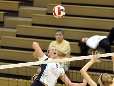 Junior Ashley Francis notched a match-high 15 kills for the Knights in a four-set defeat on Tuesday night.