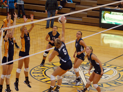 Sophomore Becky Gramer notched a match-high 13 kills in MU's sweep of Goshen on Saturday.