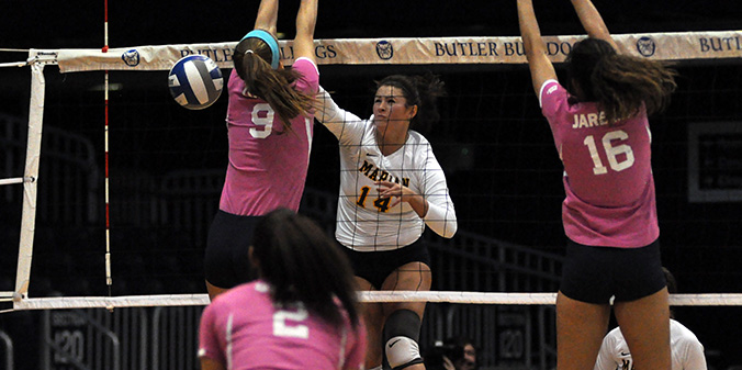 Sophomore AlyxaKay Shields tallied a team-high seven kills in MU's three-set defeat at Butler on Tuesday.