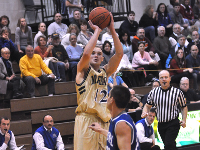 Senior Alex Sylvester scored 20 of his 26 points in the first half in MU's 70-55 defeat to Bethel on Saturday.