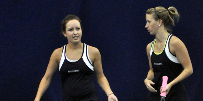 Junior Hannah Knust and senior Brittney Horlacher in an 8-6 win at No. 1 doubles to lead MU on Friday.