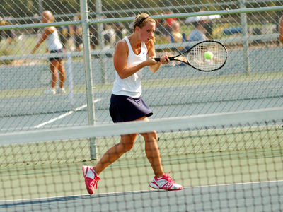 Sophomore Brittney Horlacher earned a key win over the 13th-ranked player in the ITA NAIA East Region on Thursday.