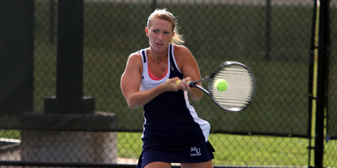 Senior Brittney Horlacher earned her 11th win at No. 1 singles in MU's sweep on Tuesday.
