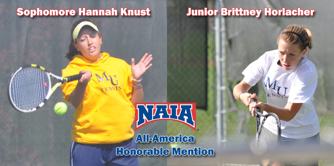 Rising junior Hannah Knust and rising senior Brittney Horlacher were named NAIA All-America honorable mention for 2012-13.