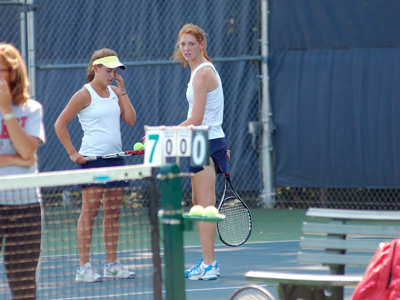 Freshman Hannah Knust and senior Alyson O'Conner tied the single-season doubles wins record on Wednesday.