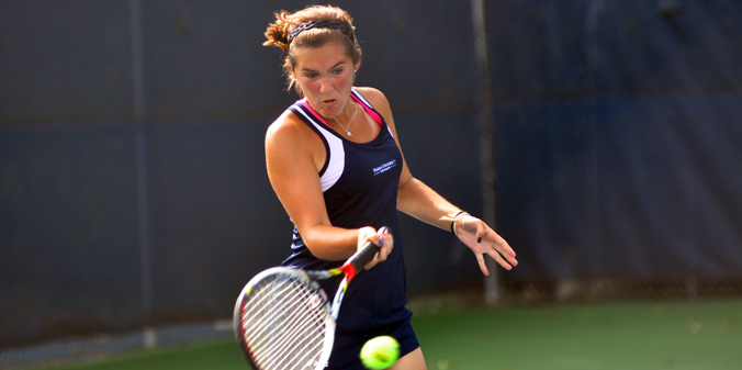 Senior Olivia Pursell earned a win at No. 5 singles and at No. 2 doubles in a 6-3 defeat at #25 Davenport on Saturday.